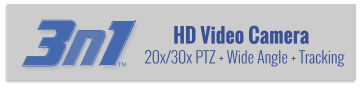 HD Video Camera 20x/30x PTZ + Wide Angle + Tracking 3 n 1 TM